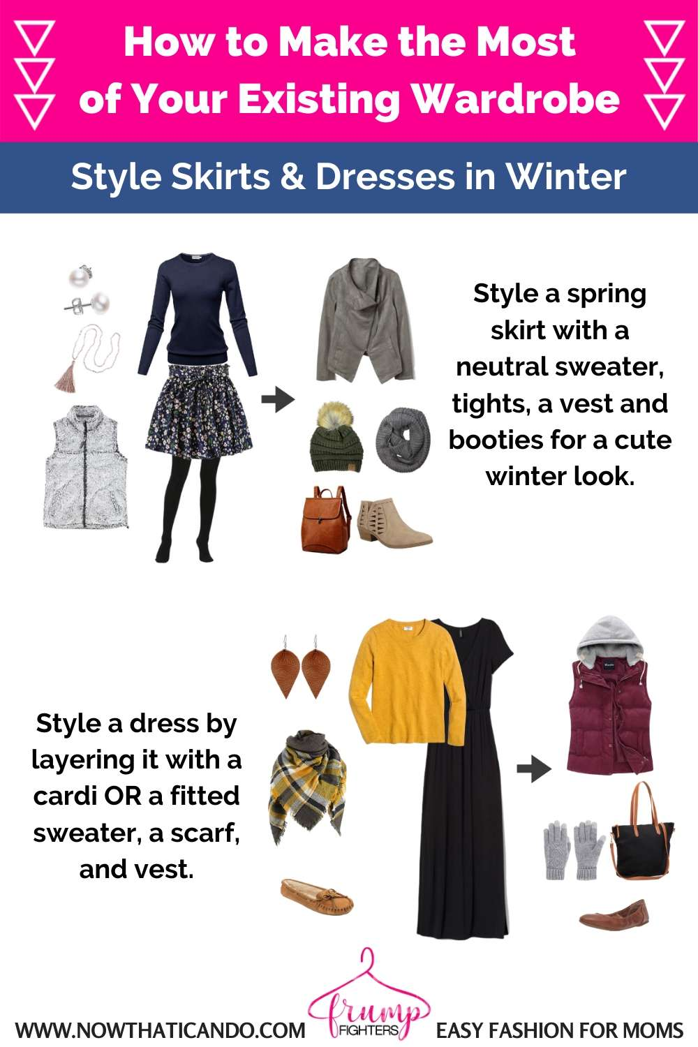 How to make the most of your existing wardrobe - Changing your wardrobe on a budget - how to style a skirt or dress in winter