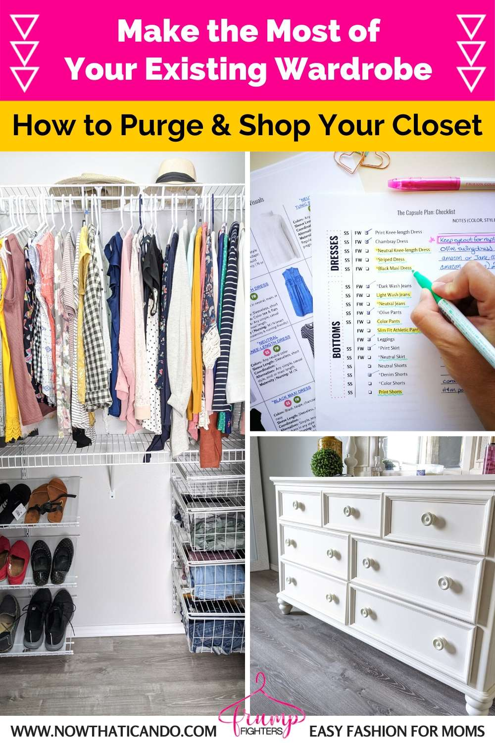 How to make the most of your existing wardrobe - Purge and shop your closet - free shopping list wardrobe overhaul essentials