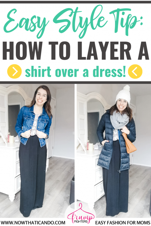 I created a casual dress outfit by layering one of my tops over a dress! This mama blogger wrote a short step-by-step along with her video to show me exactly how to do it. I love her easy fashion tips, especially how to layer my tops and dresses to create fresh styles. #momfashion #fashiontips #tricks #dressoutfit #style