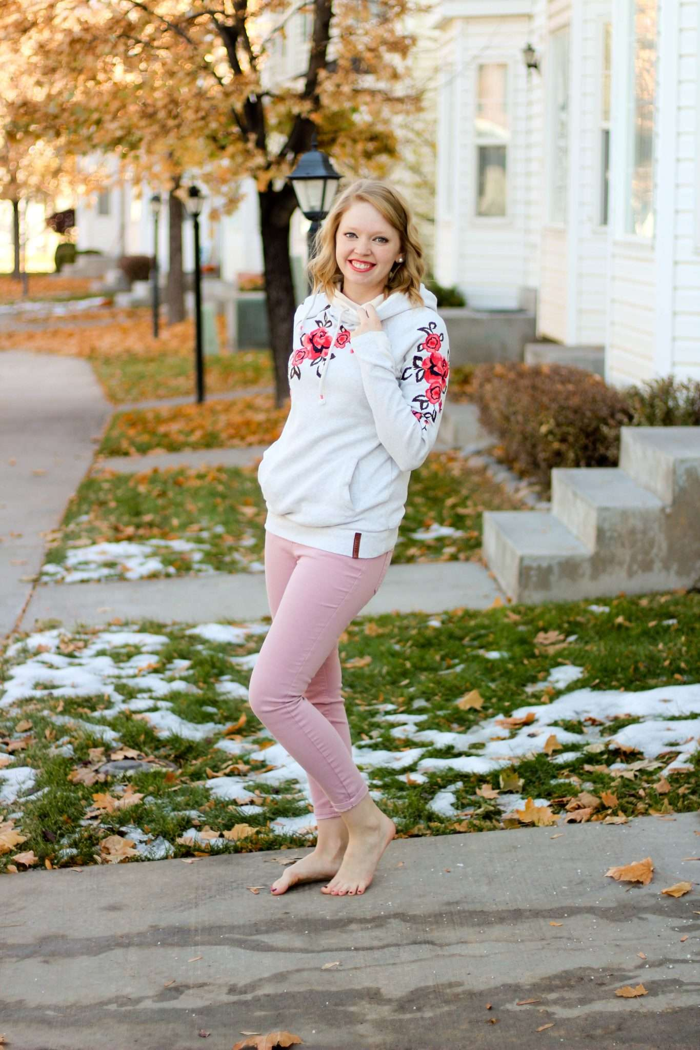 Cute Comfy Casual Outfit Idea for What to Wear At Home Around the House - Color pink pants and cute casual hoodie, easy outfit for spring