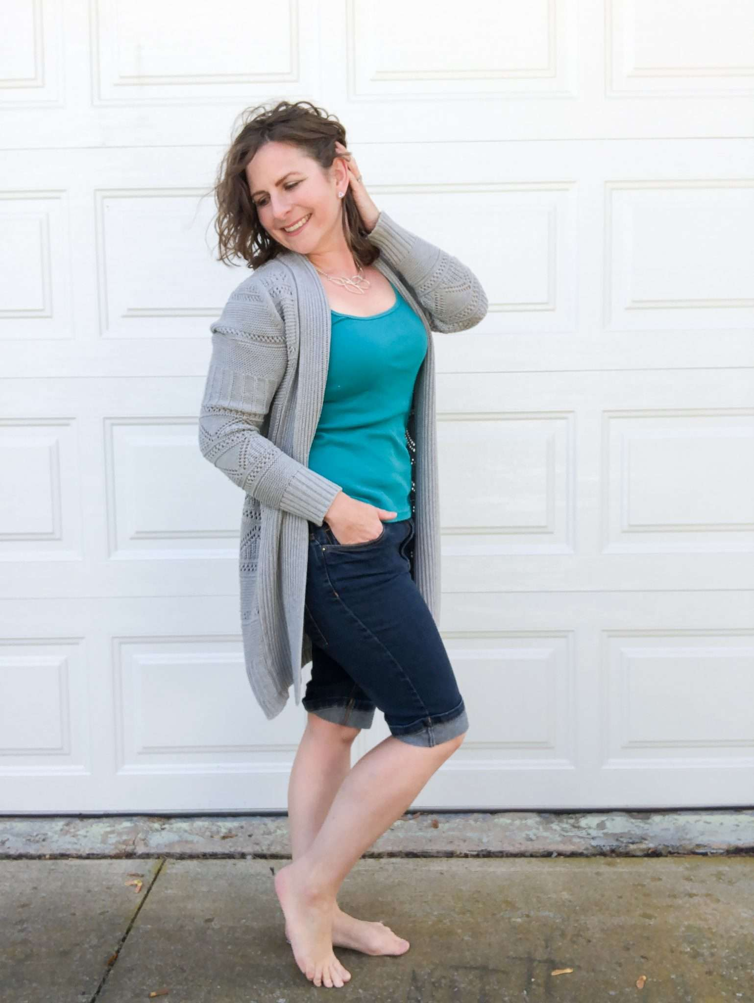 Cute Comfy Casual Outfit Idea for What to Wear At Home Around the House - Denim Shorts, Color Tee, Neutral Long Cardigan, Cute spring outfit