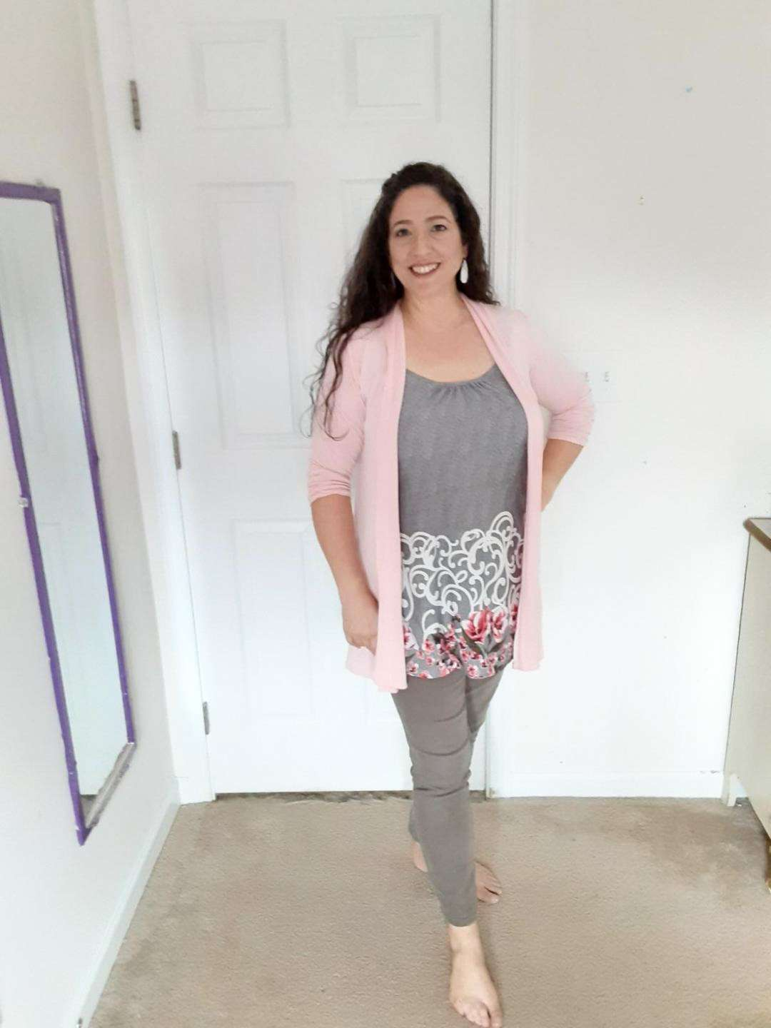 Cute Comfy Casual Outfit Idea for What to Wear At Home Around the House - Neutral jeans and print top with color cardigan