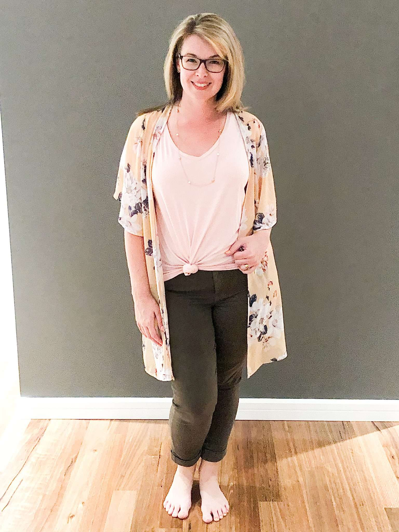 Cute Comfy Casual Outfit Idea for What to Wear At Home Around the House - Olive Pants + Color Tee + Kimono