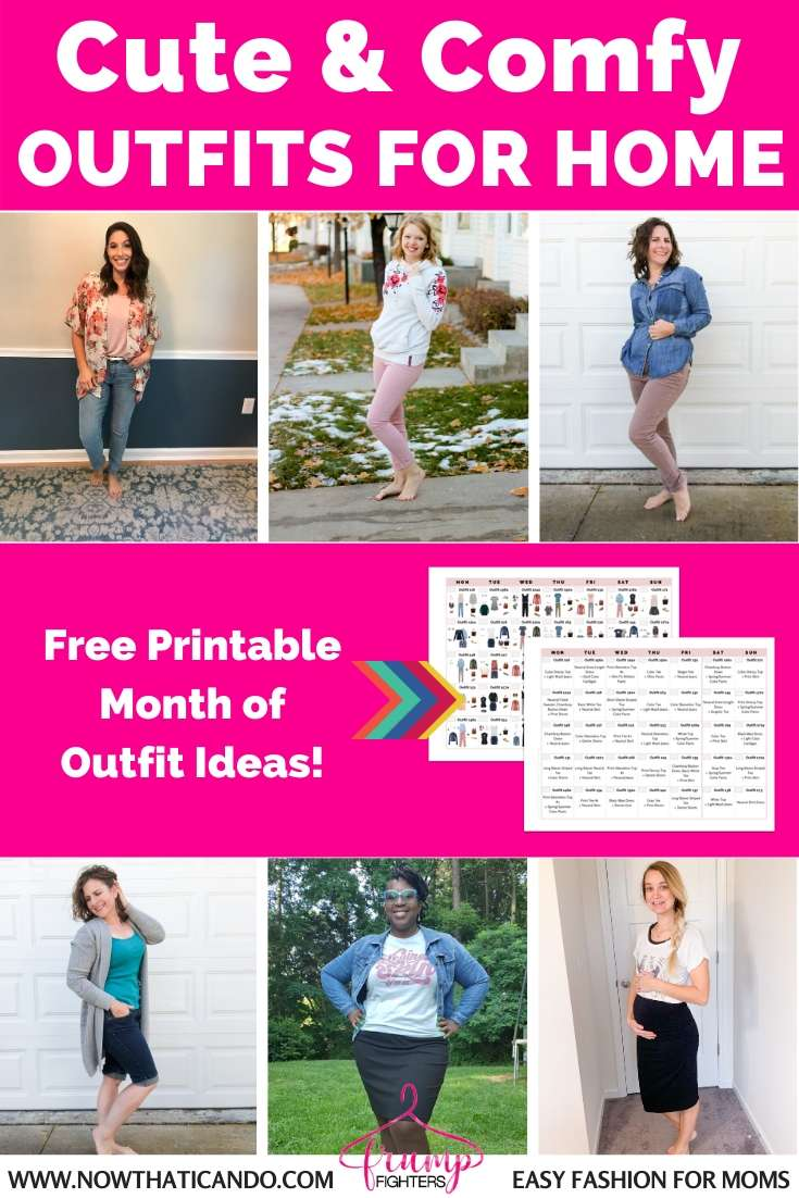 Cute & comfy casual outfit ideas for women at home all day. What to wear to look cute around the house as a stay at home or work at home mom. (3)