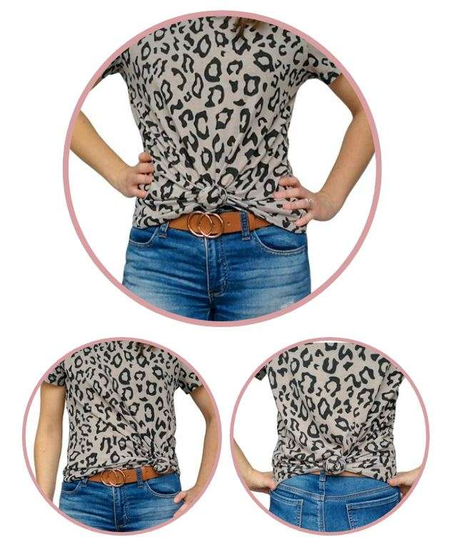 How to knot a shirt on front side and back- how to tie a shirt knot step by step to diy the knotted shirt trend and wear oversized shirts without cutting.