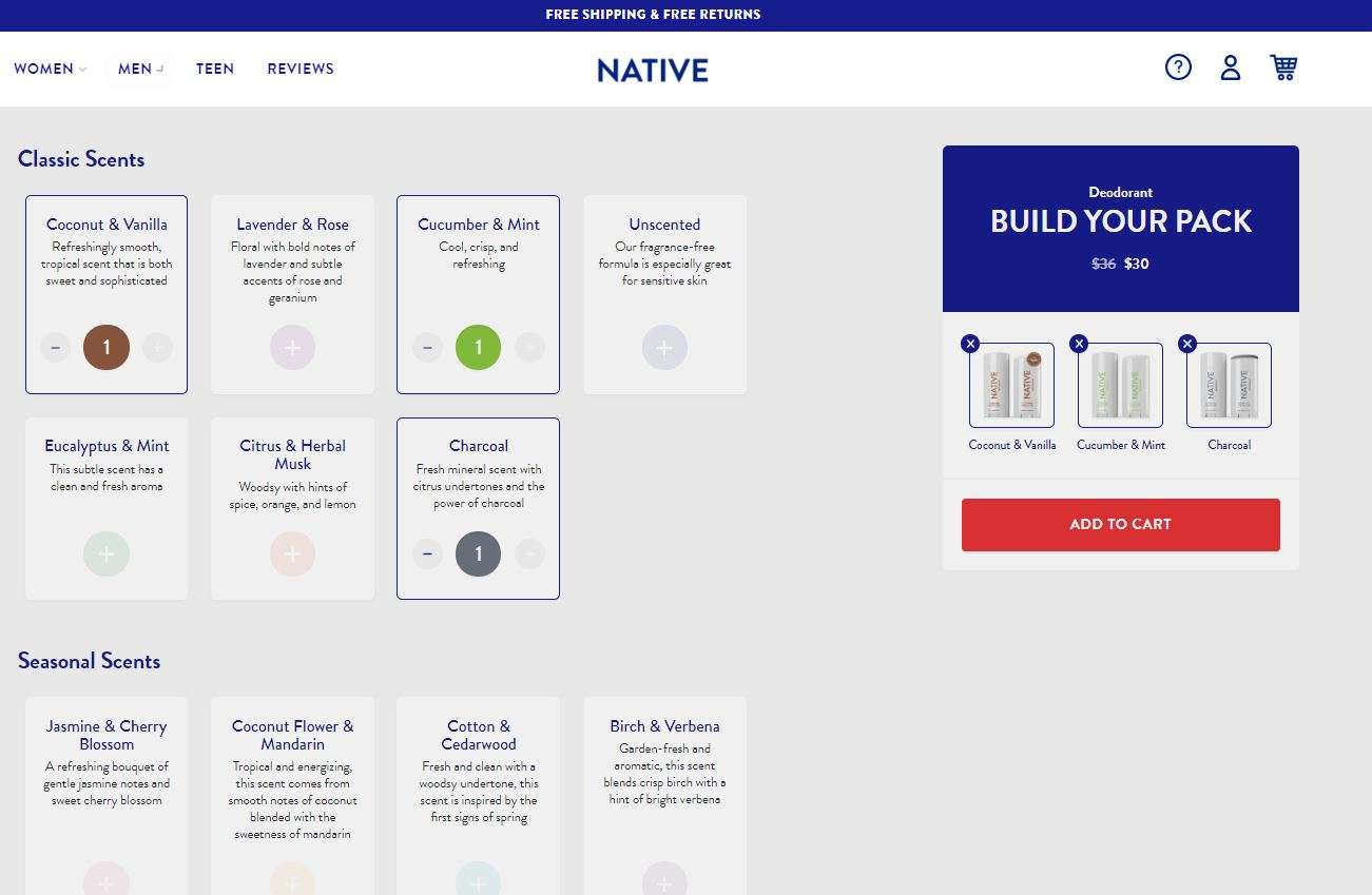 Native's Natural Deodorant Buy Build Your Own Pack on Website