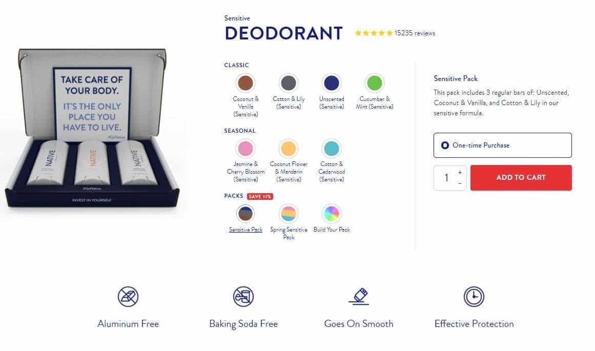 Natural Deodorant without Baking Soda - Native's Sensitive Skin Line