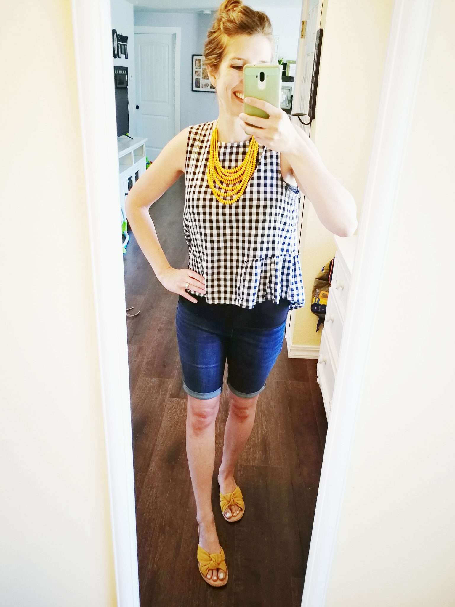 Peplum tank ginham print with yellow necklace untucked with bermuda jeans - when not to tuck your t shirt