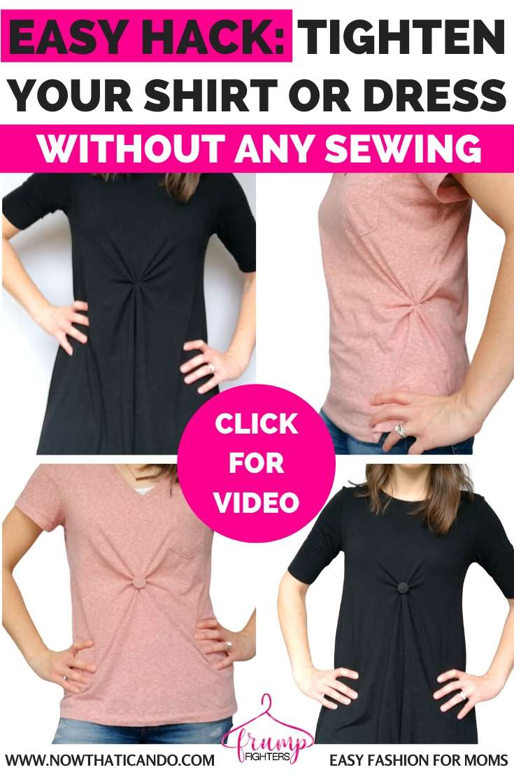 Oversized shirt or flowy dress feeling frumpy? Use this brilliant hack to make any shirt or dress tighter WITHOUT any sewing! You'll be mind-blown.