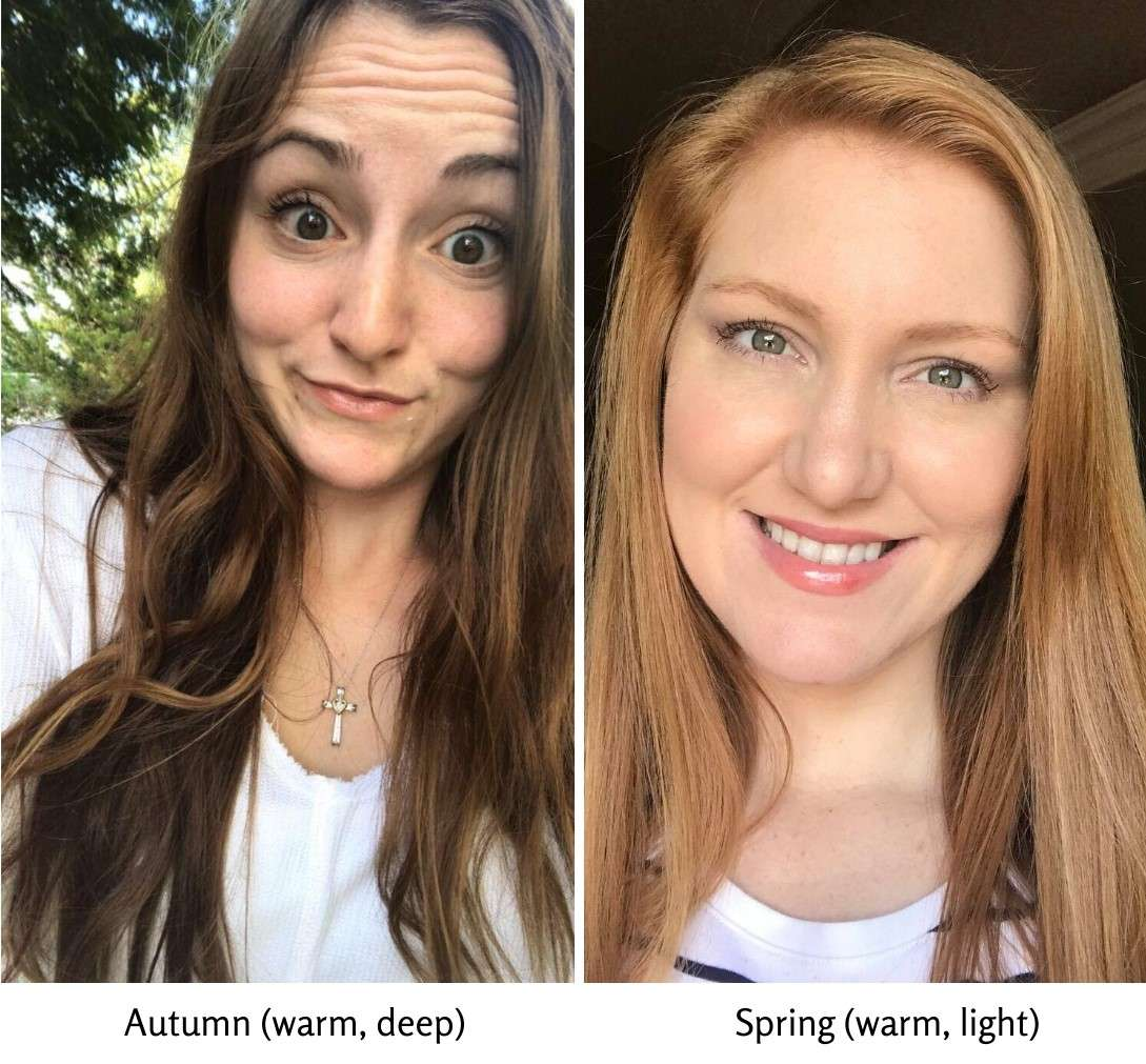 The difference between the warm seasons, Autumn and Spring. Picture examples