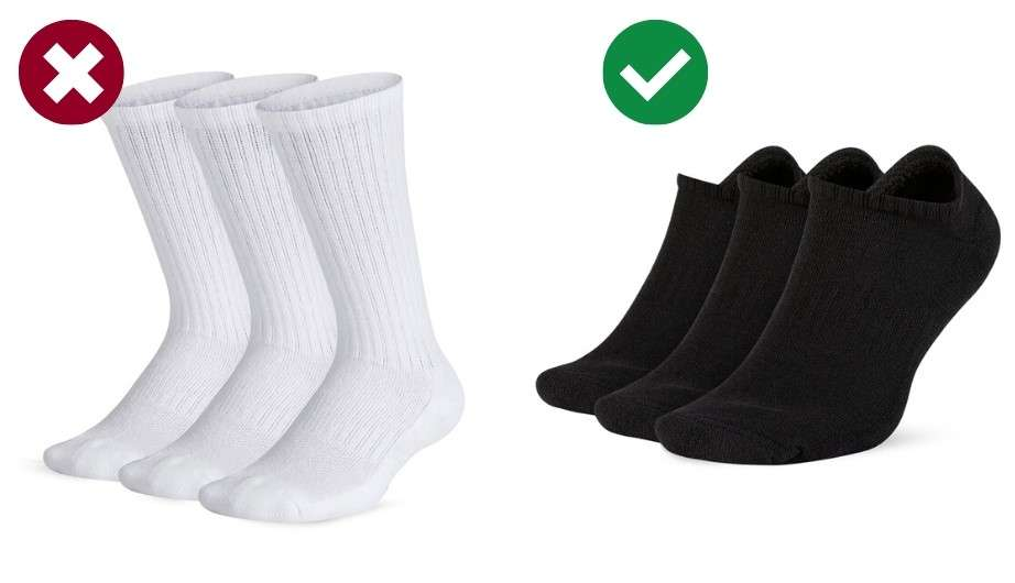 Throw away your white crew socks, they're unstylish! Is your man making these mistakes? In this men's style guide you'll find the 13 most common fashion mistakes guys make and what to do instead to dress nice and classy. Cool men's dressing tips that are easy to implement right away!