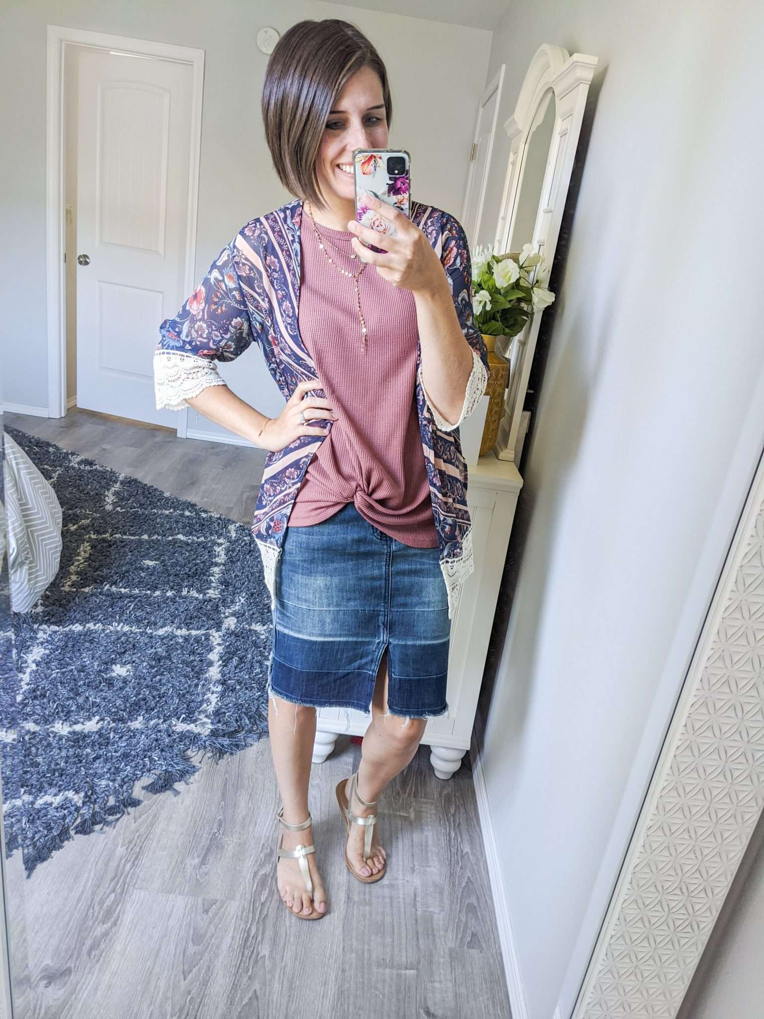 Summer to Fall transition outfits - How to transition summer clothes to fall - Add a kimono for warmth in the morning