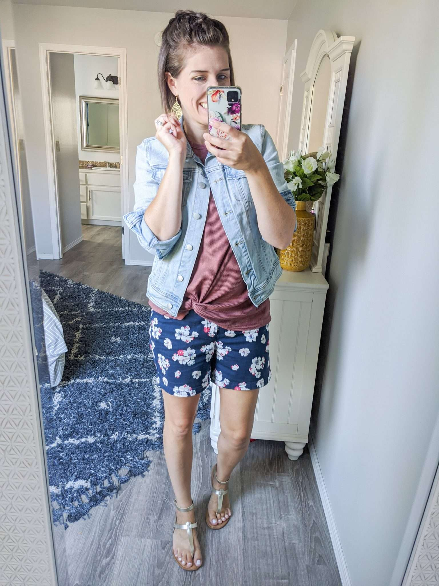 Summer to Fall transition outfits - How to transition summer clothes to fall - Denim Jackets and fallish earrings