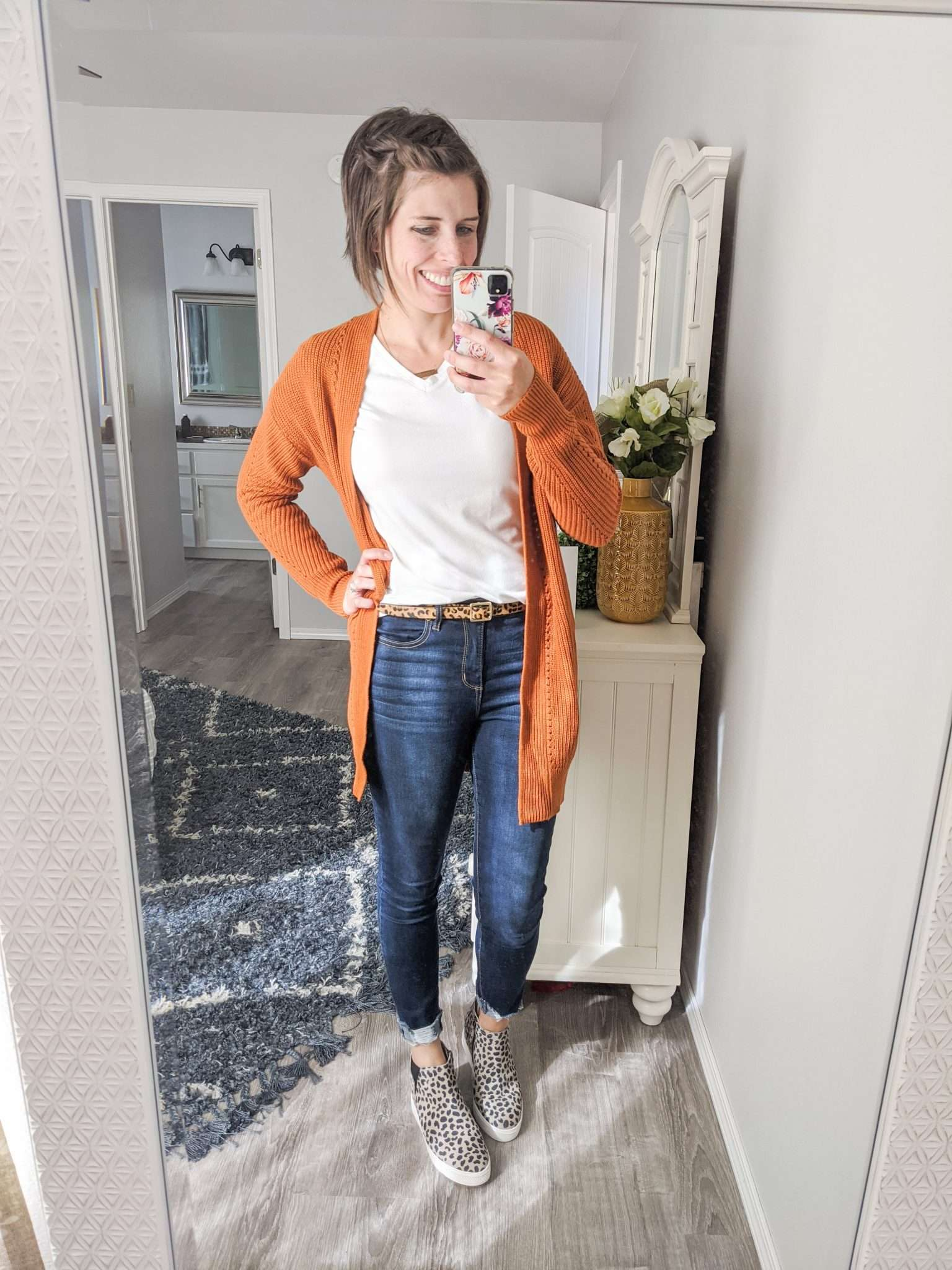 Summer to Fall transition outfits - How to transition summer clothes to fall - Fall-colored cardigans and leopard sneakers (2)