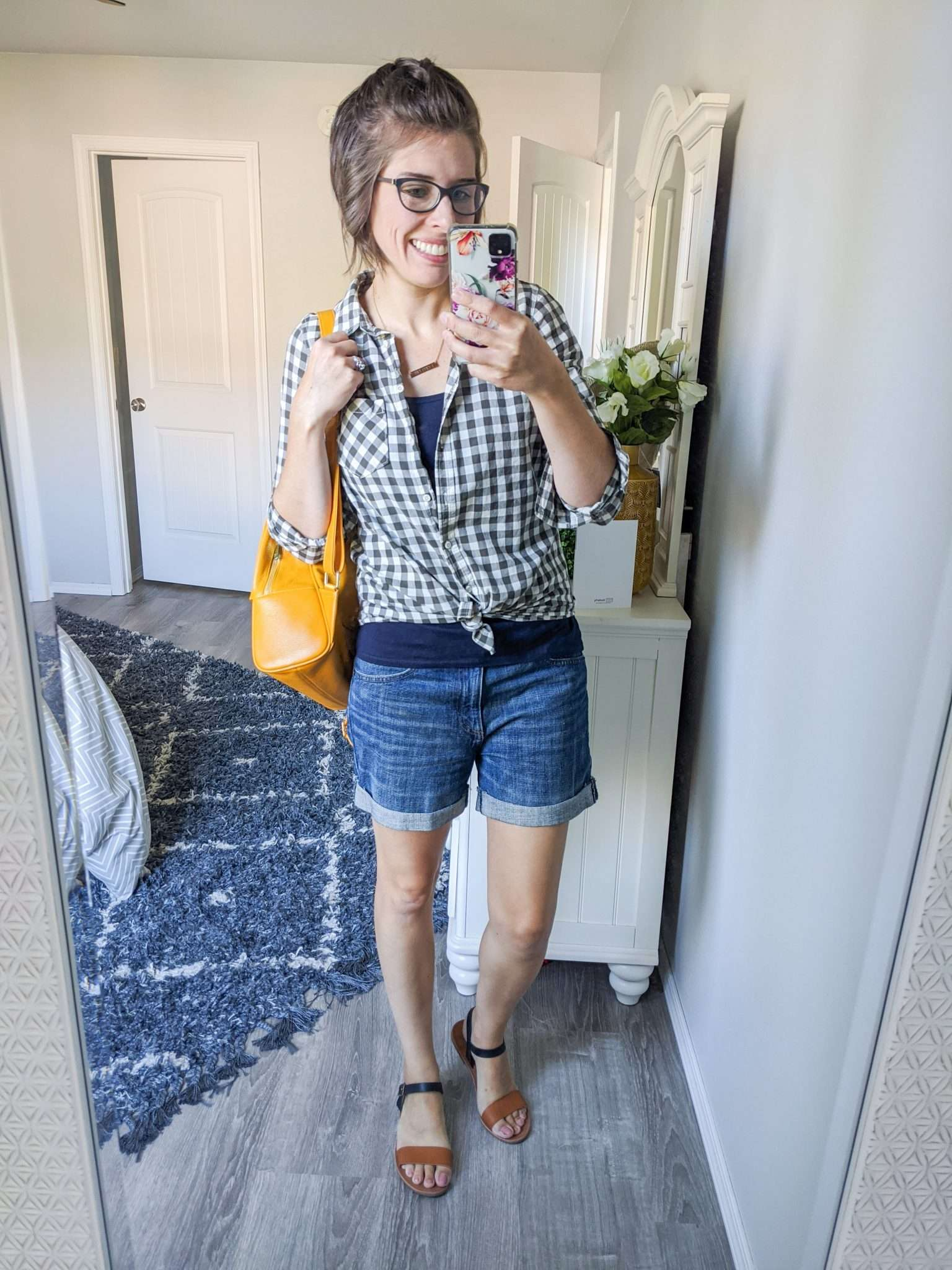 Summer to Fall transition outfits - How to transition summer clothes to fall - Gingham plaid button downs and leather give fall vibes