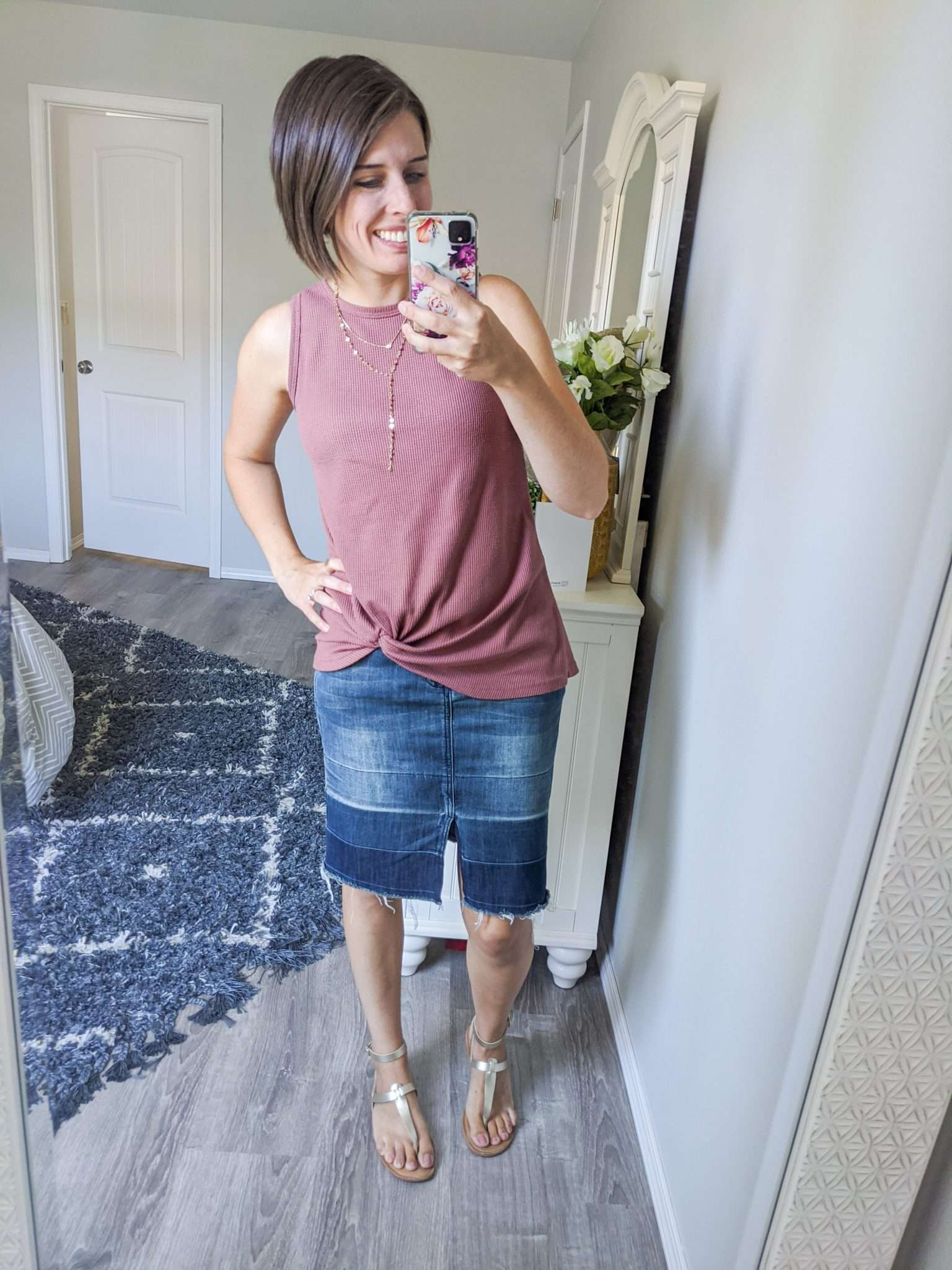 Summer to Fall transition outfits - How to transition summer clothes to fall - fall-toned tank + denim skirt