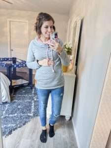 I used a minimalist maternity wardrobe to create more than 50 outfits I could wear throughout my winter and spring pregnancy. Maternity outfits made easy! #maternity #style #pregnancy #momlife #outfits