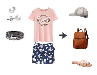 What to Wear with Birkenstocks - Cute outfit idea for spring or fall. Tee & print shorts.