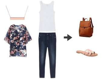 What to Wear with Birkenstocks - Cute outfit idea for spring or summer. Jeans, white tee, kimono.