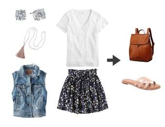 What to Wear with Birkenstocks - Cute outfit idea for summer or spring. White tee and skirt.
